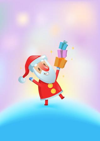 Funny Santa with presents dancing among glowing lights. Christmas card. Flat vector illustration. Vertical. Illustration