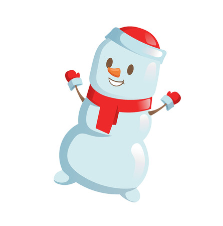 Funny Snowman dancing. Cartoon Christmas character. Colorful flat vector illustration. Isolated on white background. Illustration