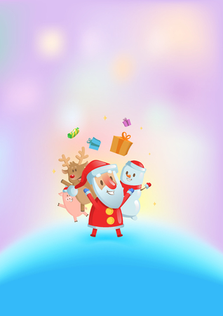 Santa and his friends dancing among glowing lights. Christmas card. Flat vector illustration. Vertical.