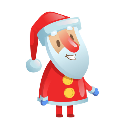 Funny smiling Santa Claus. Cartoon Christmas character. Colorful flat vector illustration. Isolated on white background. Stock Photo