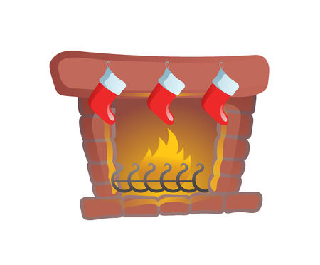 Fire place with Christmas stockings. Cartoon Christmas card element. Colorful flat vector illustration. Isolated on white background. Stock Photo