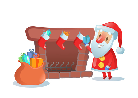 Santa Claus with big sack of gifts near fireplace with xmas stockings. Colorful flat vector illustration. Isolated on white background.