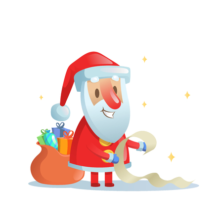 Funny Santa Claus checking his list. Cartoon Christmas card. Colorful flat vector illustration. Isolated on white background. Stock Photo