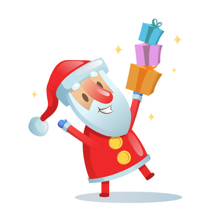 Funny Santa dancing. Cartoon Christmas card. Colorful flat vector illustration. Isolated on white background.