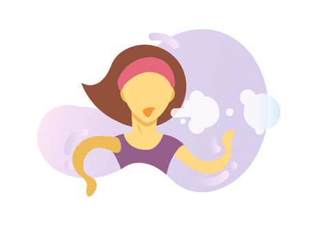 Shortness of breath icon. Coughing girl. Colorful flat vector illustration. Isolated on white background.