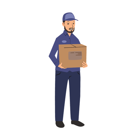 Delivery man in blue uniform holding a box. Colorful flat vector illustration. Isolated on white background. Illustration