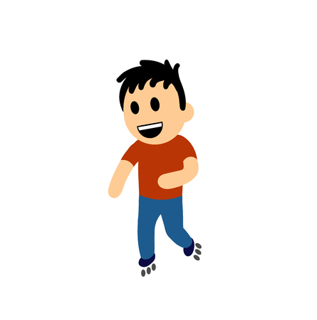 Funny cartoon boy on rollers. Colorful flat vector illustration. Isolated on white background. Illustration