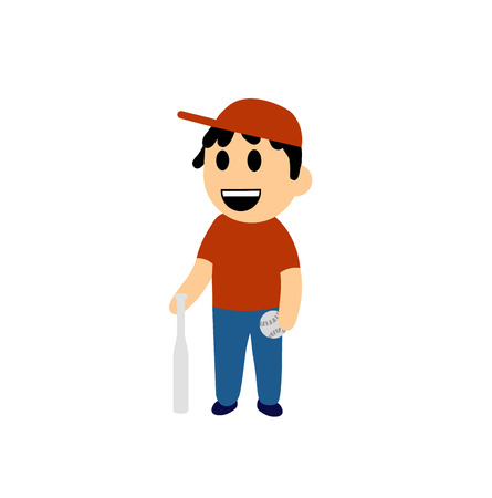 Funny cartoon boy with a baseball bat. Colorful flat vector illustration. Isolated on white background. Illustration
