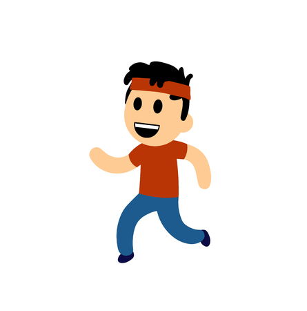 Funny cartoon boy running. Colorful flat vector illustration. Isolated on white background.
