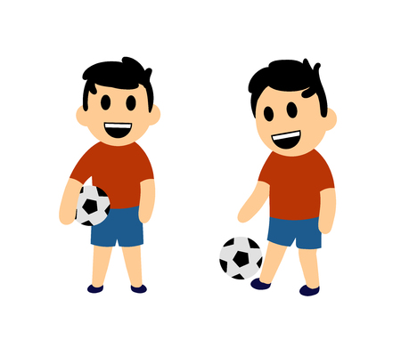Funny cartoon boy playing football. Set of two characters. Colorful flat vector illustration. Isolated on white background.