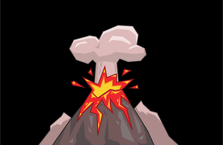 Volcano mountain top exploding with a small cloud of smoke. Flat vector illustration. Isolated on black background. Illustration