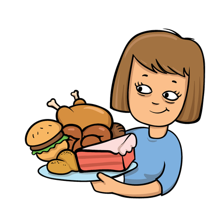 Smiling young lady looking at the plate with unhealthy food. Colorful flat vector illustration. Isolated on white background. Stock Photo