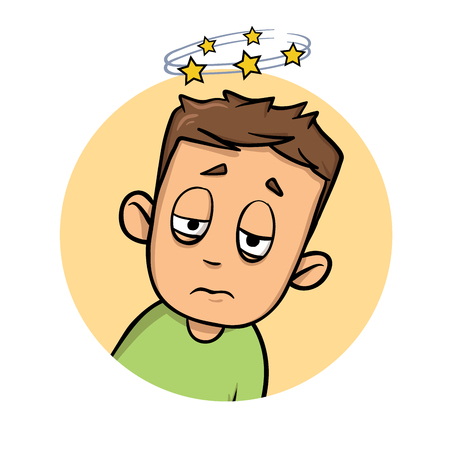 Confused boy seeing spinning stars. Loss of consciousness flat design icon. Colorful flat vector illustration. Isolated on white background.