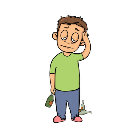 Morning hangover guy. Young man with headache and a bottle. Flat design icon. Colorful flat vector illustration. Isolated on white background. Stock Photo