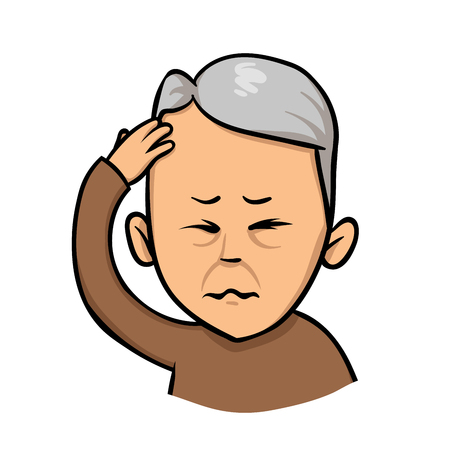 Senior man holding hand to his head. Forgetfulness, headache. Colorful flat vector illustration. Isolated on white background. Illustration