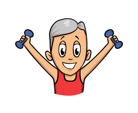 Senior man exercising with dumbbells. Colorful flat vector illustration. Isolated on white background. Illustration