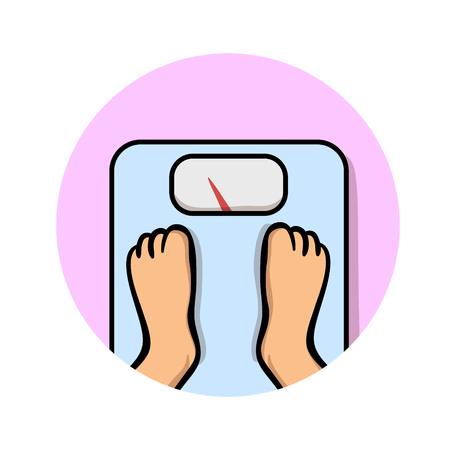 Feet on weighing scales. Cartoon design icon. Colorful flat vector illustration. Isolated on white background.
