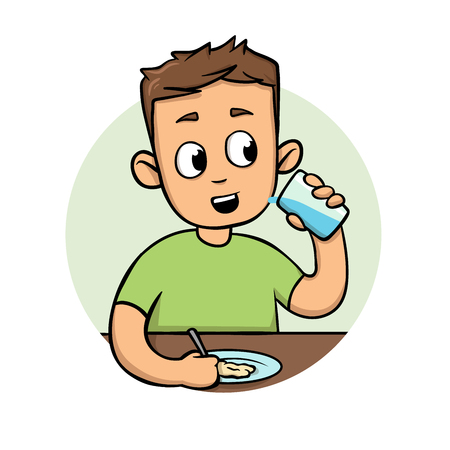 Young man eating meal. Cartoon flat design icon. Colorful flat vector illustration. Isolated on white background.