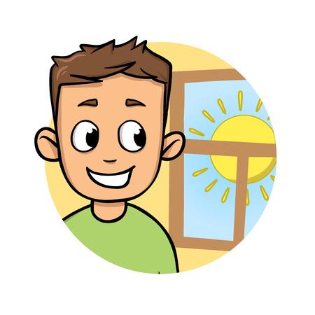 Ragazzino che guarda fuori dalla finestra il tempo soleggiato. Icona di design piatto del fumetto. Illustrazione vettoriale piatto colorato. Isolato su sfondo bianco. Vettoriali