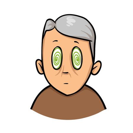Älterer Mann mit hypnotisierten Augen. Drehen, Ohnmacht. Cartoon-Design-Ikone. Bunte flache Vektorillustration. Auf weißem Hintergrund isoliert. Vektorgrafik