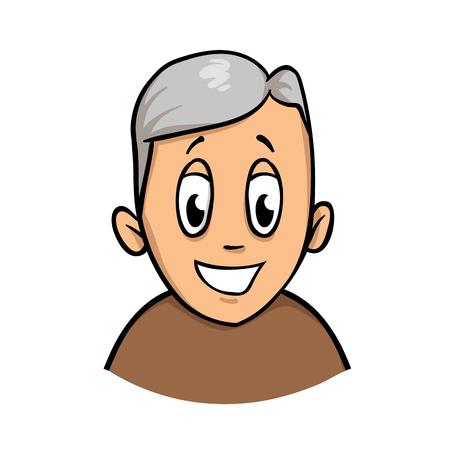 Happy smiling active senior man. Cartoon design icon. Colorful flat vector illustration. Isolated on white background.