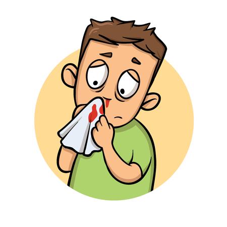 Chłopiec z krwawiącym nosem. Ikona kreskówka projekt. Ilustracja kolorowy płaski wektor. Pojedynczo na białym tle.