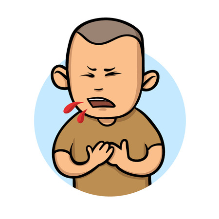 Young guy coughing blood. Colorful flat vector illustration. Isolated on white background.