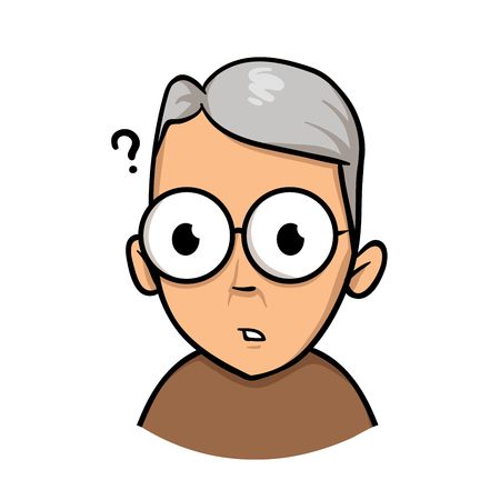 Senior mature man having trouble because of vision problems. Flat design icon. Colorful flat vector illustration. Isolated on white background.  イラスト・ベクター素材