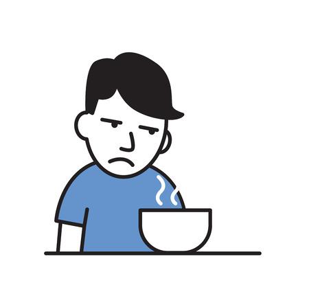 Giovane malato senza appetito davanti al pasto. Illustrazione vettoriale piatto colorato. Isolato su sfondo bianco.