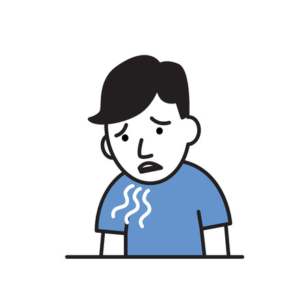 Boy about to throw up. Nausea flat design icon. Colorful flat vector illustration. Isolated on white background.