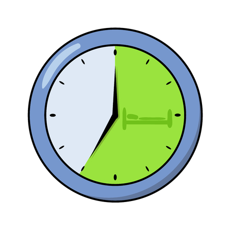 Round office clock showing seven o'clock. Flat design icon. Colorful flat vector illustration. Isolated on white background.