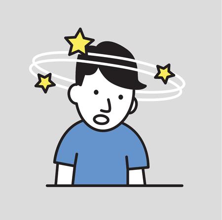 Verwirrter Junge, der sich drehende Sterne sieht Bewusstlosigkeit flache Designikone. Bunte flache Vektorillustration. Auf grauem Hintergrund isoliert.
