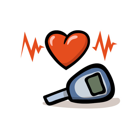 Glucometer and heart. Testing glucose. Medical diagnostic equipment. Healthcare monitoring, concept. Flat design icon. Colorful flat vector illustration. Isolated on white background.