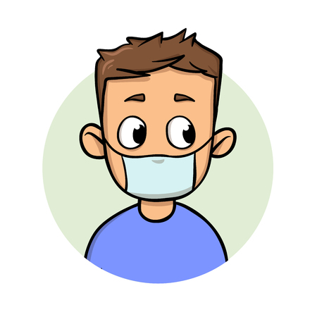 Funny cartoon guy wearing medical mask for respiratory disease protection. Cartoon design icon. Colorfull flat vector illustration. Isolated on white background.