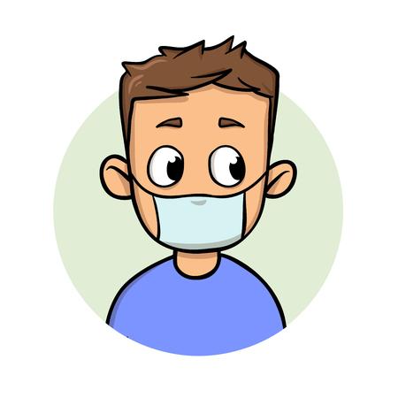 Mec drôle de bande dessinée portant un masque médical pour la protection des maladies respiratoires. Icône du design de dessin animé. Illustration vectorielle plane colorée. Isolé sur fond blanc. Banque d'images