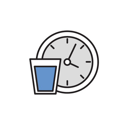 Drink water regularly. Colorful flat vector illustration. Isolated on white background. Stock fotó