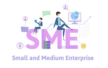 SME, Small and Medium Enterprise. Concept with people, letters and icons.