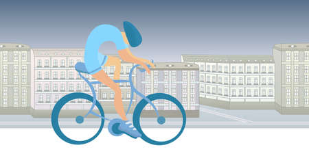 Sportsman cycling on city background. Abstract shaped figure on realistic landscape. Flat vector illustration, horizontal.