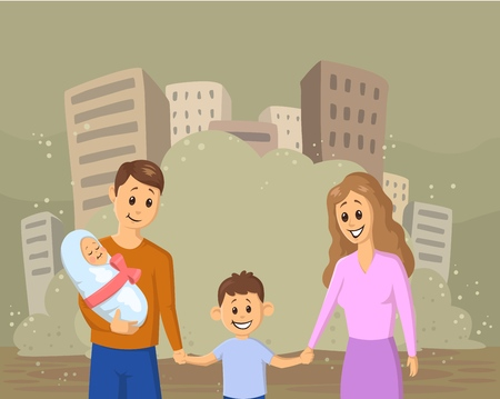 Young smiling family with children on dusty city background. Social problems and ecological, war, immigration. Flat vector illustration.