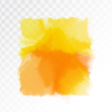 Yellow watercolor artistic spot. Isolated on transparent background, vector illustration.