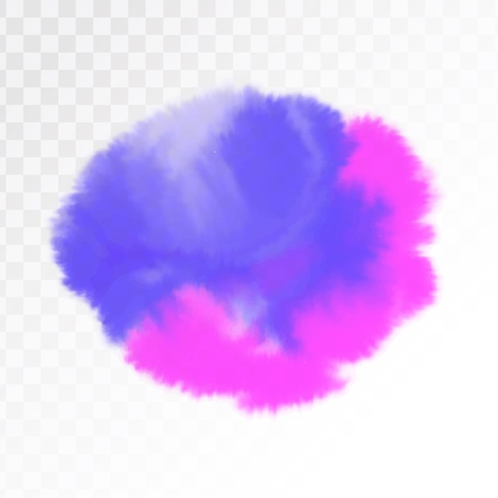 Purple and blue watercolor spot, isolated on transparent background. Vector illustration. Ilustrace