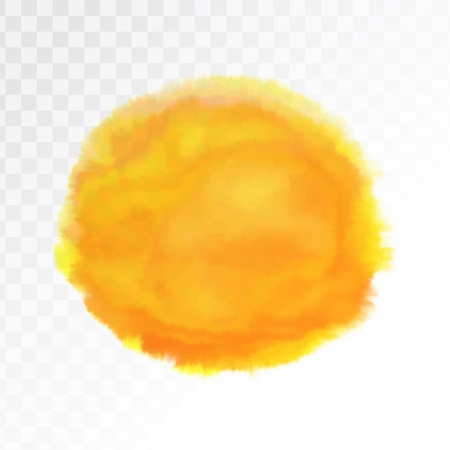 Light orange and yellow watercolor spot, isolated on transparent background. Vector illustration.