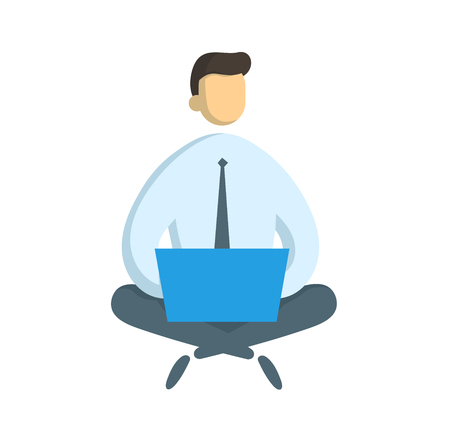 Businessman with the laptop sitting in lotus pose. Freelance and IT sprecialist, business and communication, surf the internet concept. Flat vector illustration. Isolated on white background.