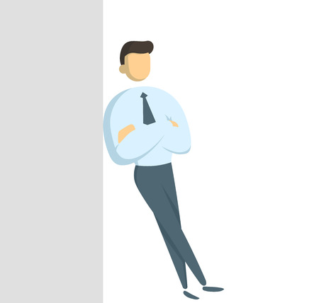Manager in white shirt standing leaning against the wall with his arms crossed. Concept for banners, infographics or landing pages. Flat vector illustration. Isolated on white background.