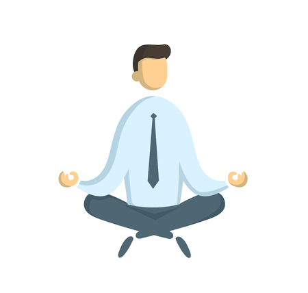 Businessman sitting in lotus pose. Freelance and IT sprecialist, business and communication, surf the internet concept. Flat vector illustration. Isolated on white background.