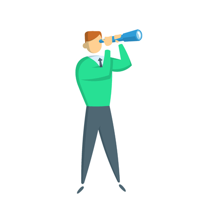 Young businessman with a spyglass. Full-length figure of a casually dressed businessman. Flat vector illustration. Isolated on white background. Иллюстрация