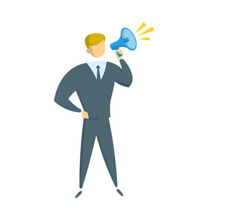 Businessman with megaphone, simple style. Flat vector illustration. Isolated on white background.