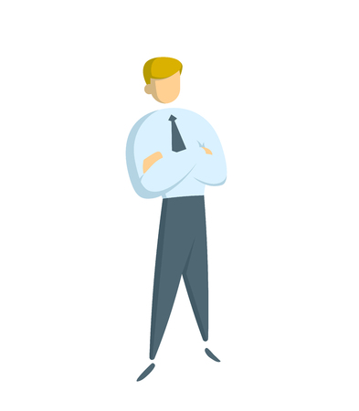 Manager in white shirt standing with his arms crossed. Concept for banners, infographics or landing pages. Flat vector illustration. Isolated on white background.