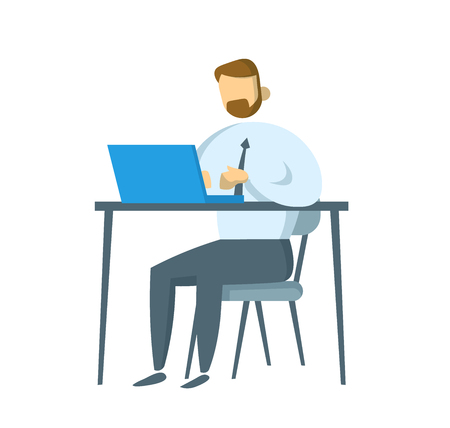 Bearded businessman sitting at his workplace. Manager working on a laptop in his office. Flat vector illustration. Isolated on white background. Archivio Fotografico - 127491789