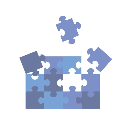 Shages of blue jigsaw puzzle pieces. Colorful flat vector illustration. Isolated on white background.